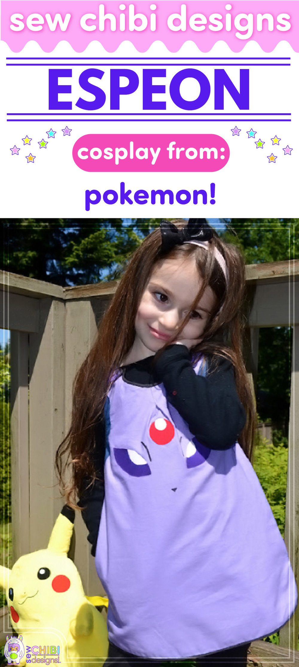 Espeon chibi cosplay from Pokemon sewn by Sew Chibi Designs for Sew Geeky