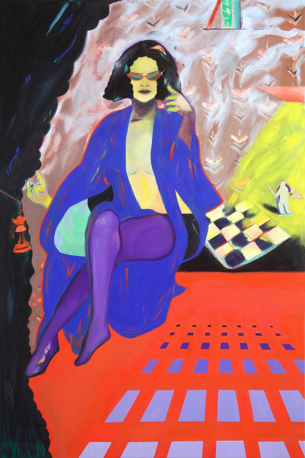 Chess Master with Blue Gown,  2018,   oil on canvas, 72 x 48 inches