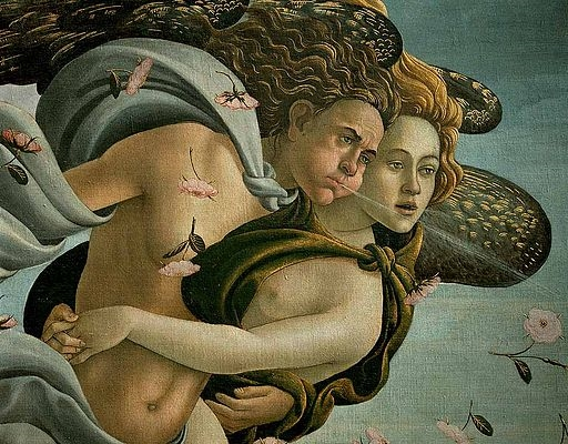 Sandro Boticelli, The Birth of Venus (detail, Zephyr and Chloris)
