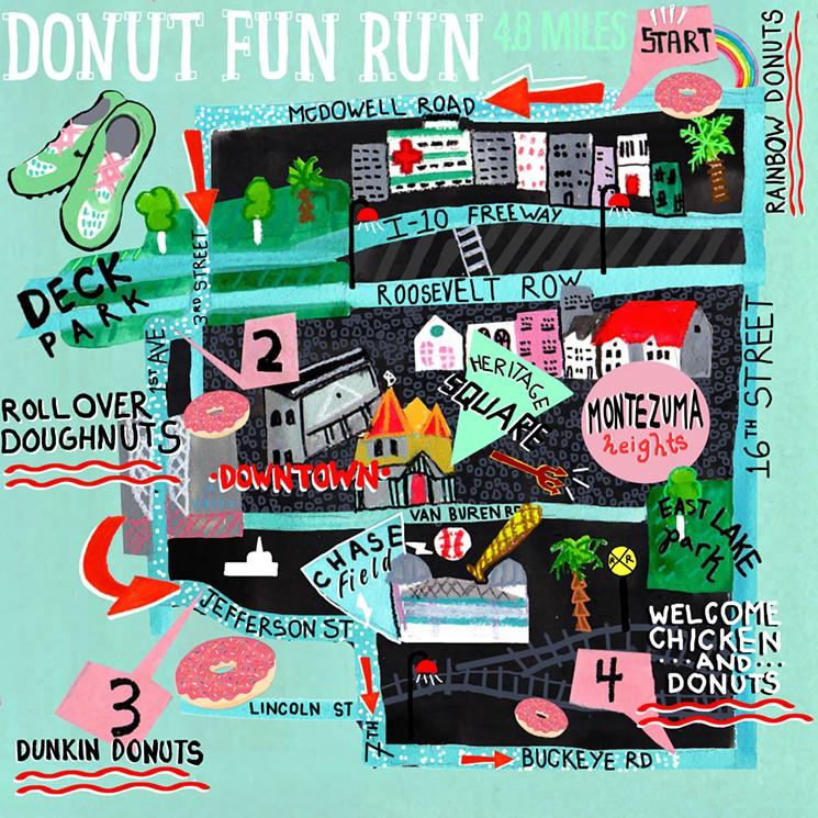 Illustration and Article for Phoenix New Times  http://www.phoenixnewtimes.com/restaurants/sarah-hurwitzs-48-mile-phoenix-doughnut-fun-run-9183777
