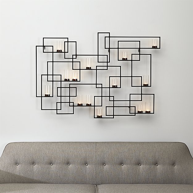 Crate and Barrel. Circuit metal wall candle holder