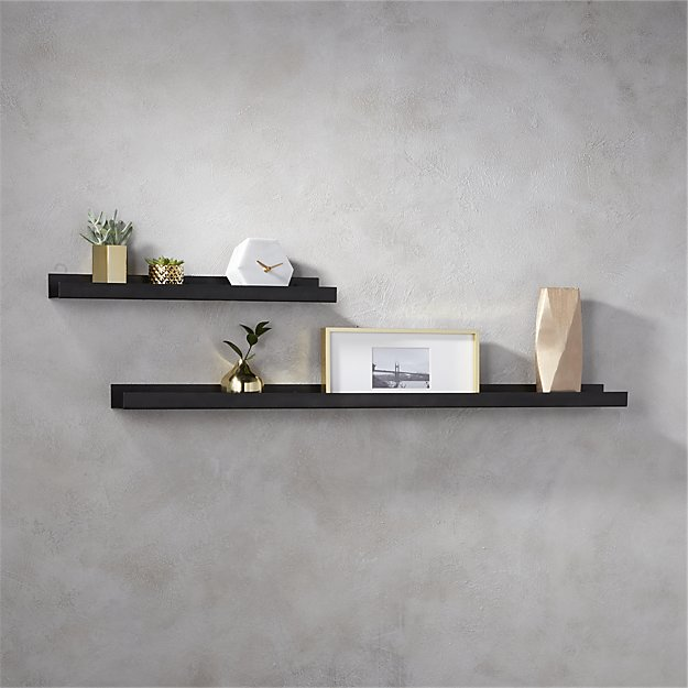 CB2. metal gunmetal wall shelves