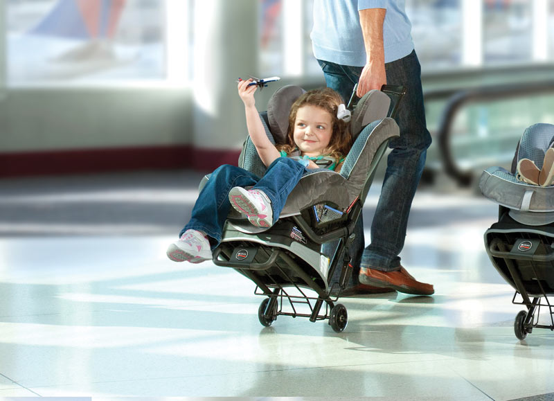 4/Put car seat on wheels