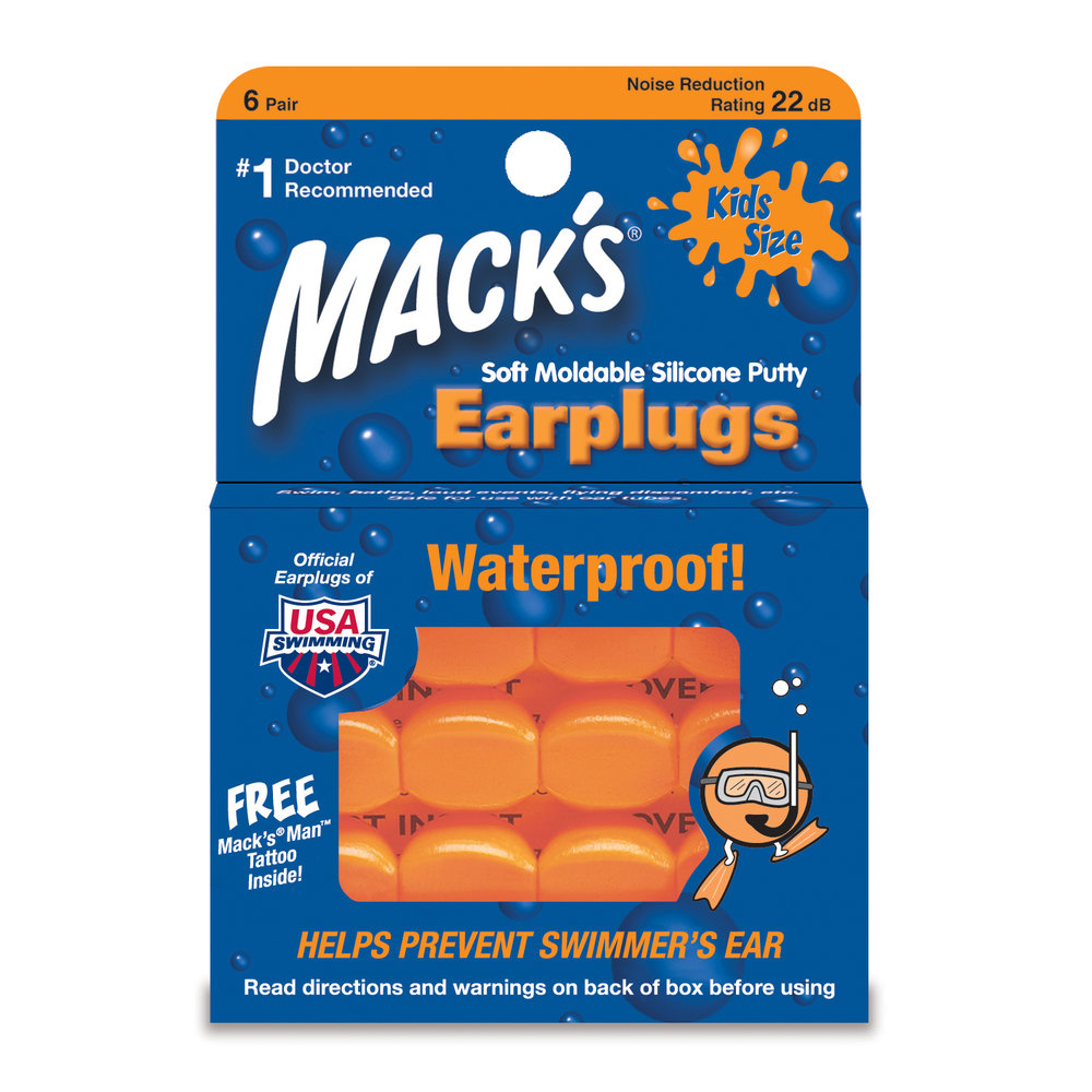 1/Mack's Pillow Soft Moldable Silicone Putty Earplugs, Kids Size