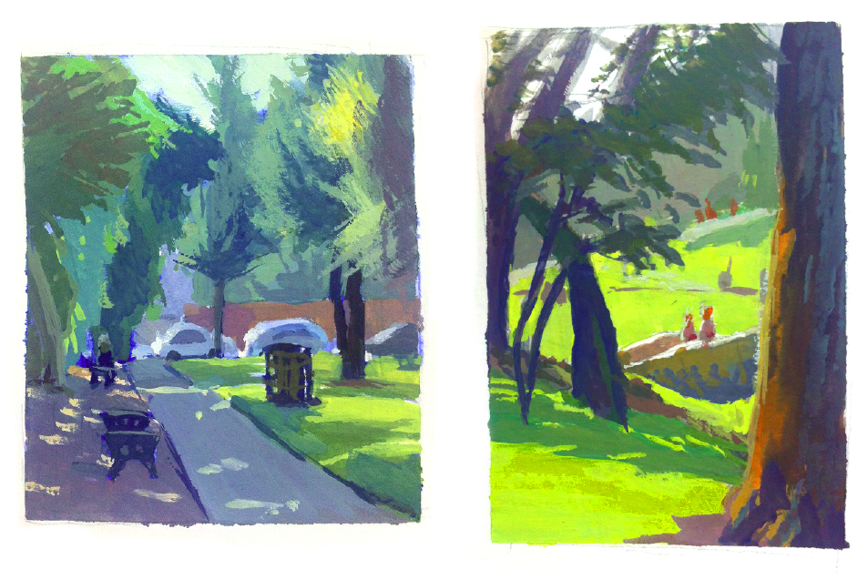 Some of my gouache paintings from Pasadena, 2014