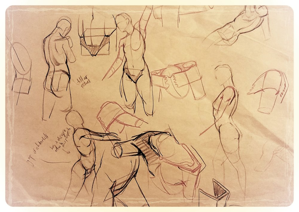 One of many drawovers from Kirk Shinmoto during his figure drawing workshop