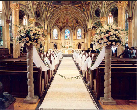 A traditional wedding may be held in a church like the one shown above.