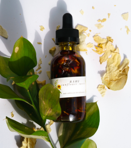 Sunflower Sweets Serum by Bahi Cosmetics: also a non-clogging facial oil with a sunflower oil base full of fatty acids and vitamins that nurture skin which will leave skin feeling moisturized and with a slight glow.