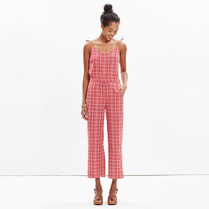 Madewell Plaid Biopic Jumpsuit