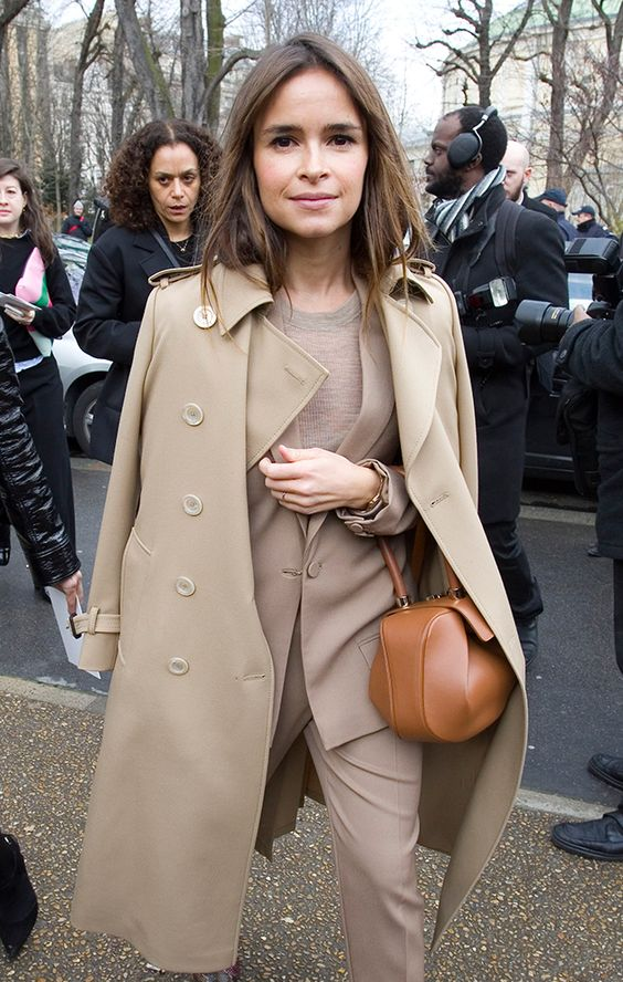 Mira Duma in camel. Image via  Purse Blog
