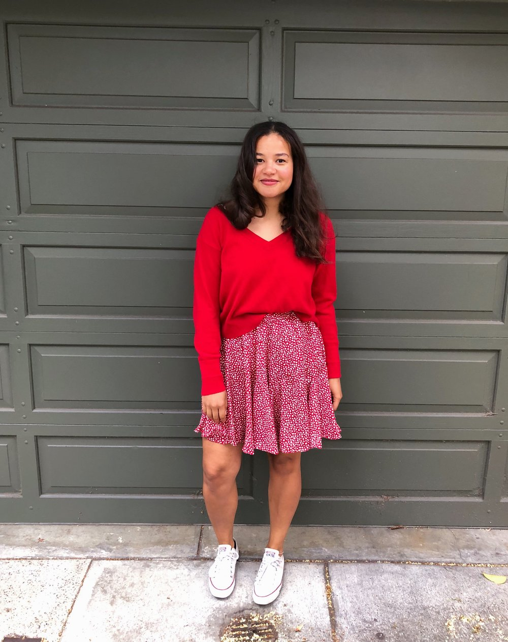 Skirt: Ranna Gill | Sweater: Everlane,  available on sale in other colors here  | Shoes: Converse,  available here