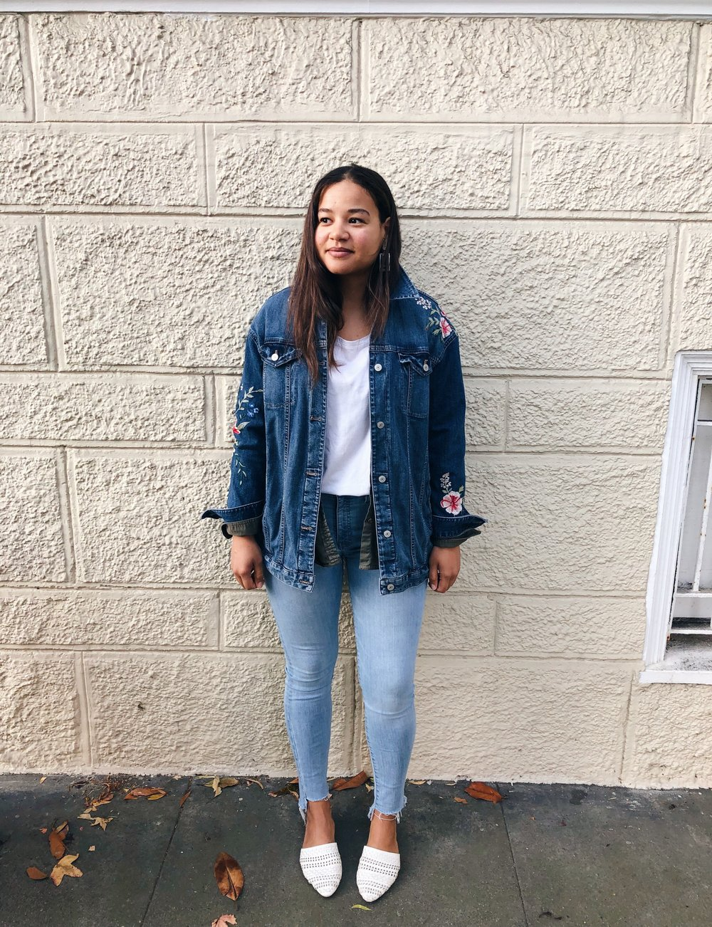 Jacket: thrifted at Buffalo Exchange (originally Express) | Collared shirt: Banana Republic | T-shirt: Old Navy | Jeans: Madewell | Flats: Gap | Earrings: bought on the street in NYC 1,000 years ago