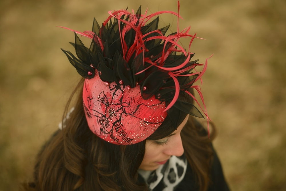 Beaded Red Fascinator