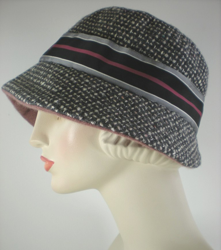 675ed8d3c64649 Gray tweed women's cloche hat warm winter Downton Abbey — What a ...