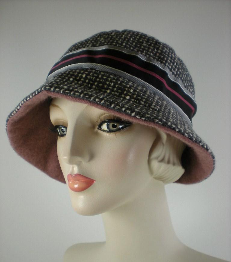 675ed8d3c64649 Gray tweed women's cloche hat warm winter Downton Abbey — What a ...