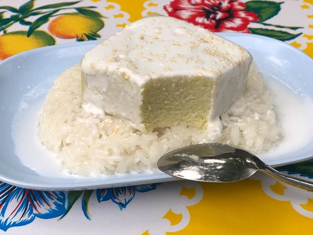 Obligatory #nationaldessertday post! Sangkhaya Thurian - Sweet sticky rice with coconut/palm sugar custard flavored with durian. Available at #pokpokpdx #pokpoknoi & #pokpoknw