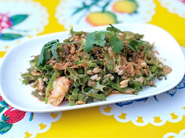 On the special boards at #pokpokpdx Yam Thua Phuu - wing bean salad with pork, prawns, peanuts, and shallots in a roasted chile-coconut dressing.
