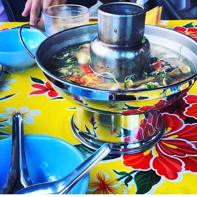 It's all about the broth! // Tom Saep Muu at #whiskeysodalounge Isaan sour-hot soup with pork and offal, herbs, aromatics, tomatoes, lime and chiles, served in a hot pot. // photo by @al_moore1984