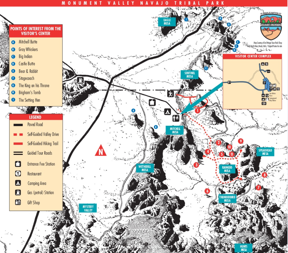 Monument Valley Arizona Map Monument Valley Tribal Park Map — Majestic Monument Valley Touring Co.