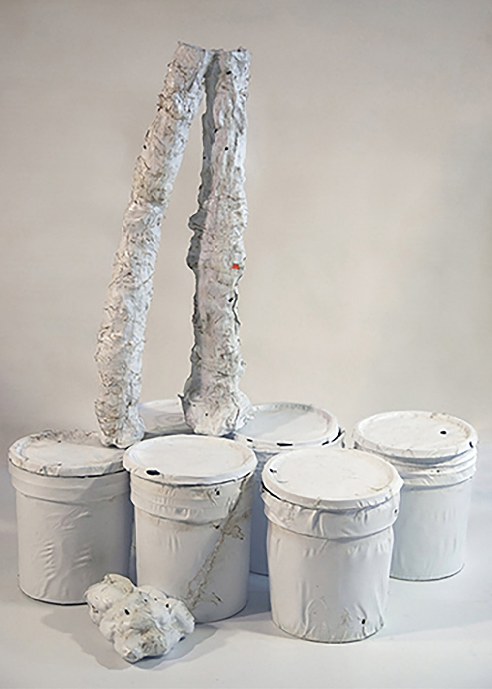 Copy Of Bronze Sculpture C. 1986, Plastic Buckets, 5lb Of Potatoes