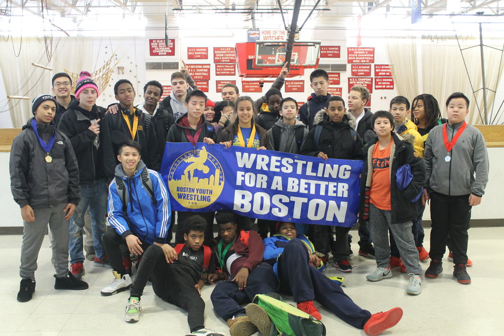 The Boston Youth Wrestling at the 2017 MYWA North/East Sectional Championships at Salem High School.