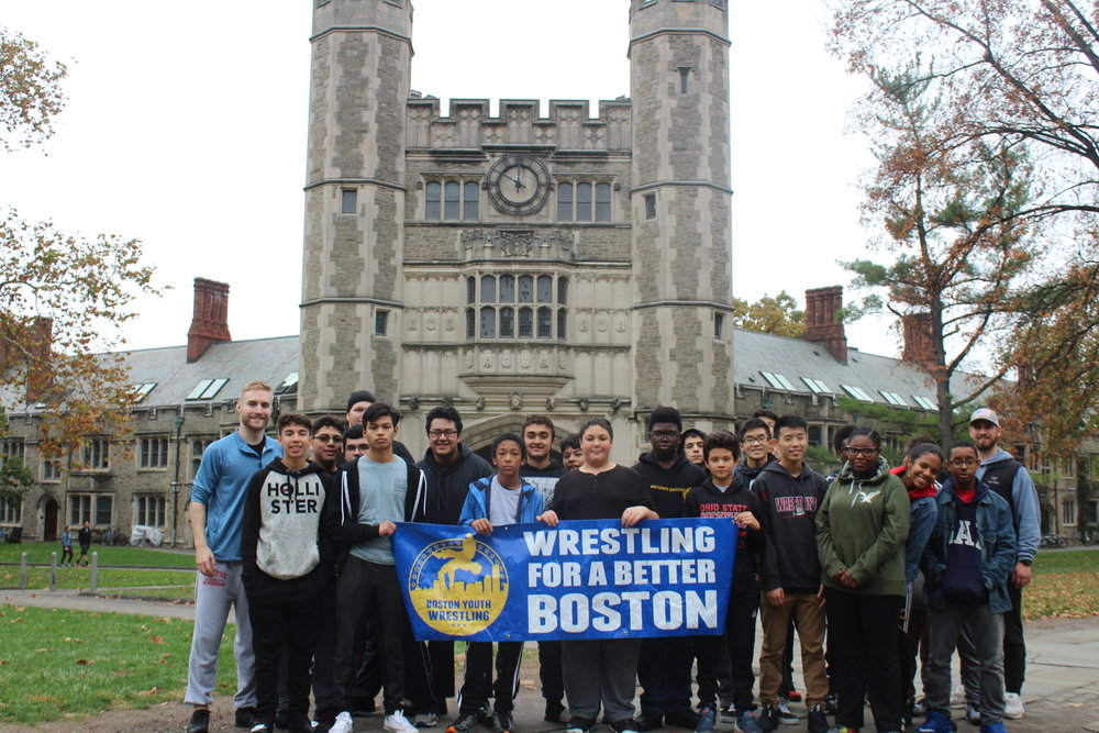 Our wrestlers are exposed to experiences like college and career exploration. Pictured above, BYW student-athletes visited the campus of Princeton University (NJ) in 2017.