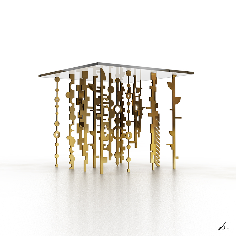 I have to admit, complex geometry created by simple geometric shapes will never cease to amuse me. This is a developing concept of a table with multiple brass legs - all cut out in odd geometric shapes. I could just have the legs alone as a wall piece and still be quite happy.