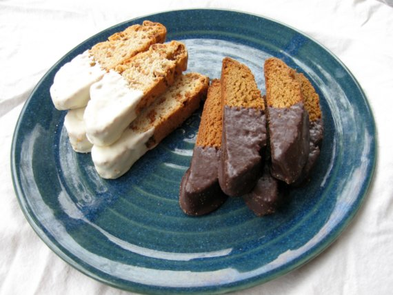 Mango with White Chocolate (left) and Gingersnap with Dark Chocolate (right) Biscotti