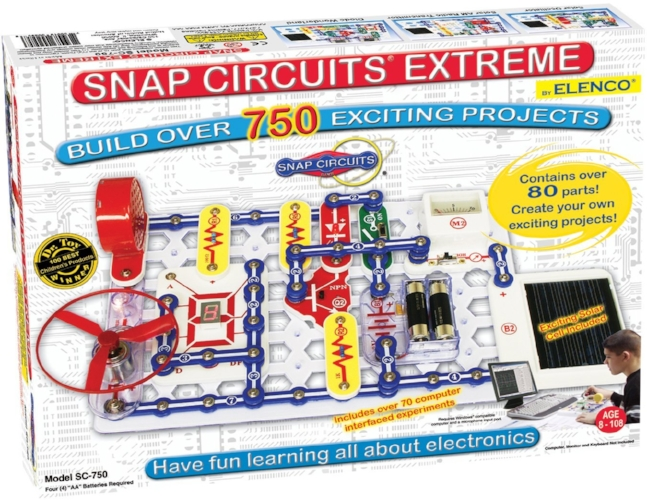 Forget the electronics kits of our era, all the cool kids these days are doing  Snap Circuits ! Help your child start building a solid basis in electronics with these fun kits. Elenco has a variety of different sets available, in a  wide range of project sizes and pricing .