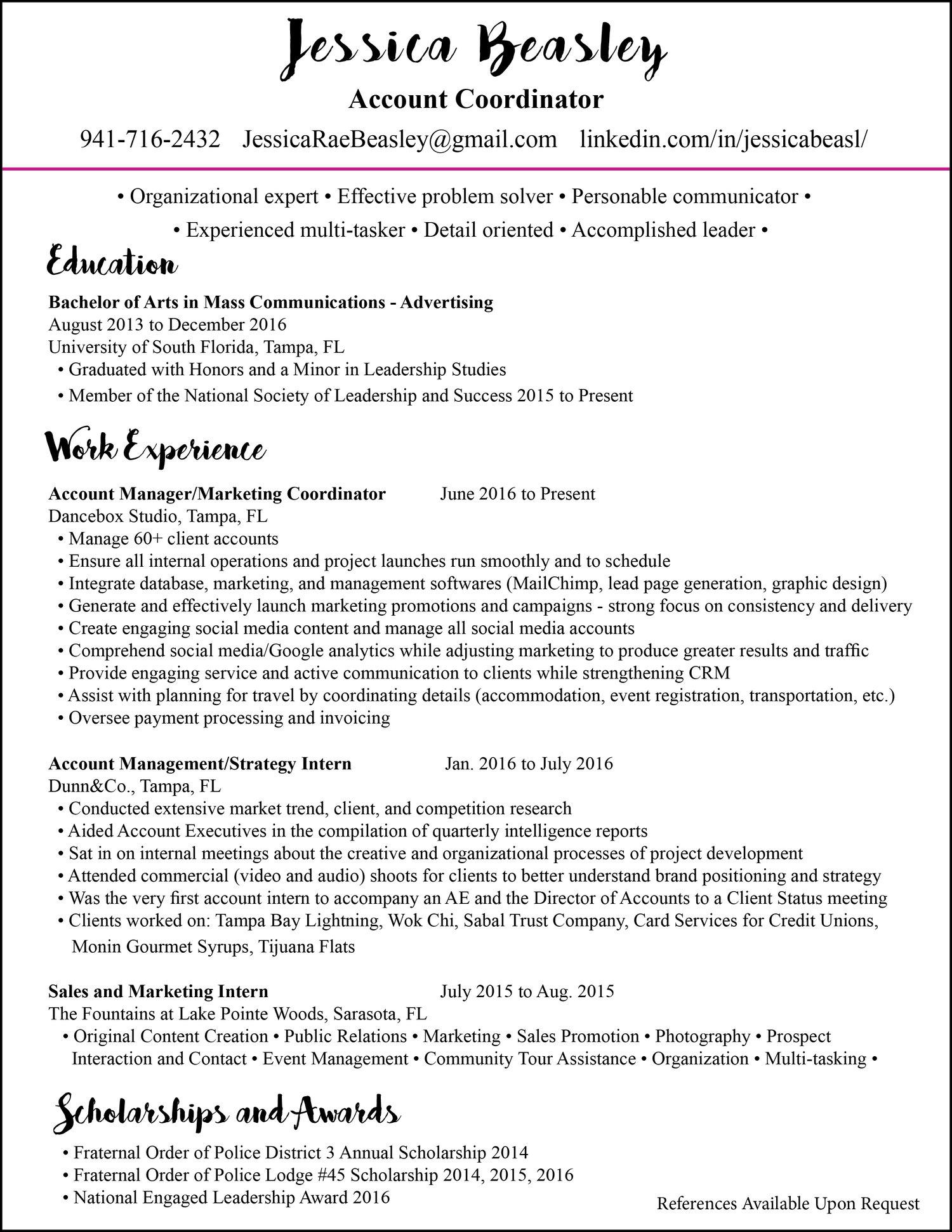 resume National Society Of Leadership And Success Resume resume jessica beasley prev next