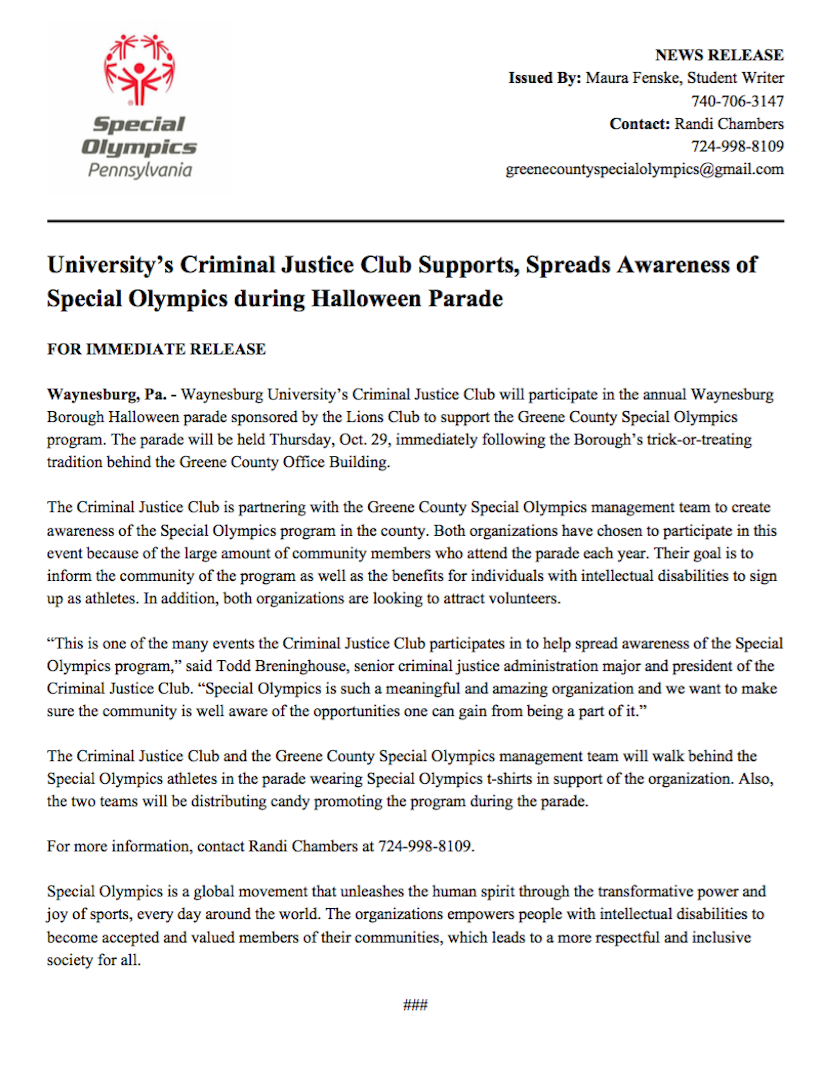 This press release was written as a means to educate Greene County of the current status of the Special Olympics program.