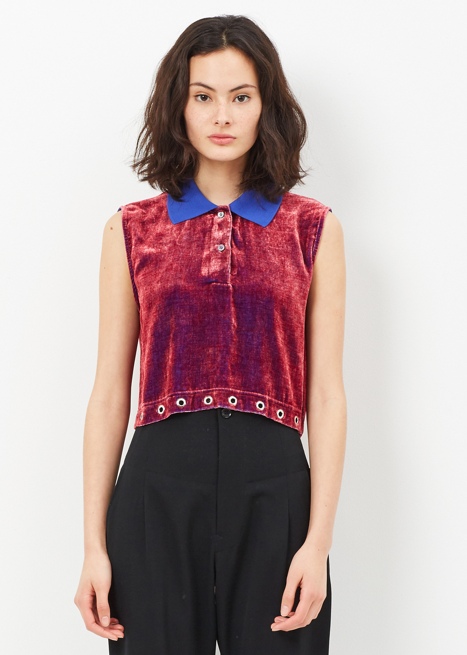 Fuchia Cropped Polo Shirt