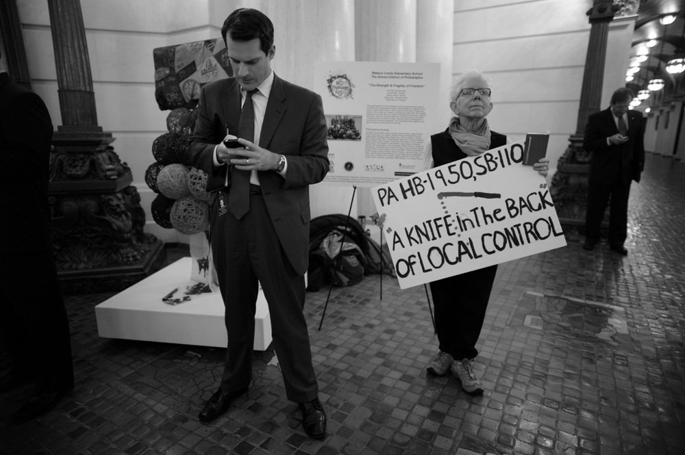Lobbyist and activist- on the sidelines at a protest in Harrisburg, PA.  ©   Lynn Johnson/MSDP 2012