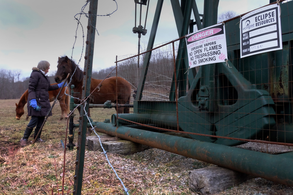 Forty years ago, the Muffets signed a lease with Oxford Oil and Gas for a shallow gas well on the far side of their property.  As a consequence, they were legally bound to acquiesce when, decades later, a company that had bought the lease chose to frack under theirs, and their neighbors properties.  © Brian Cohen/MSDP 2016