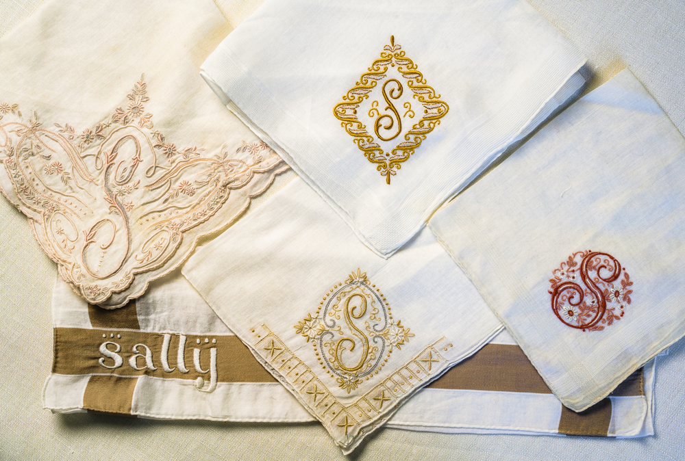 """A drawer filled with monogrammed hanky's - many I suppose were gifts from the """"hanky"""" invite, please see adjacent. Over the years my mother received many more from her mother, my Gram, who traveled to Switzerland frequently."""