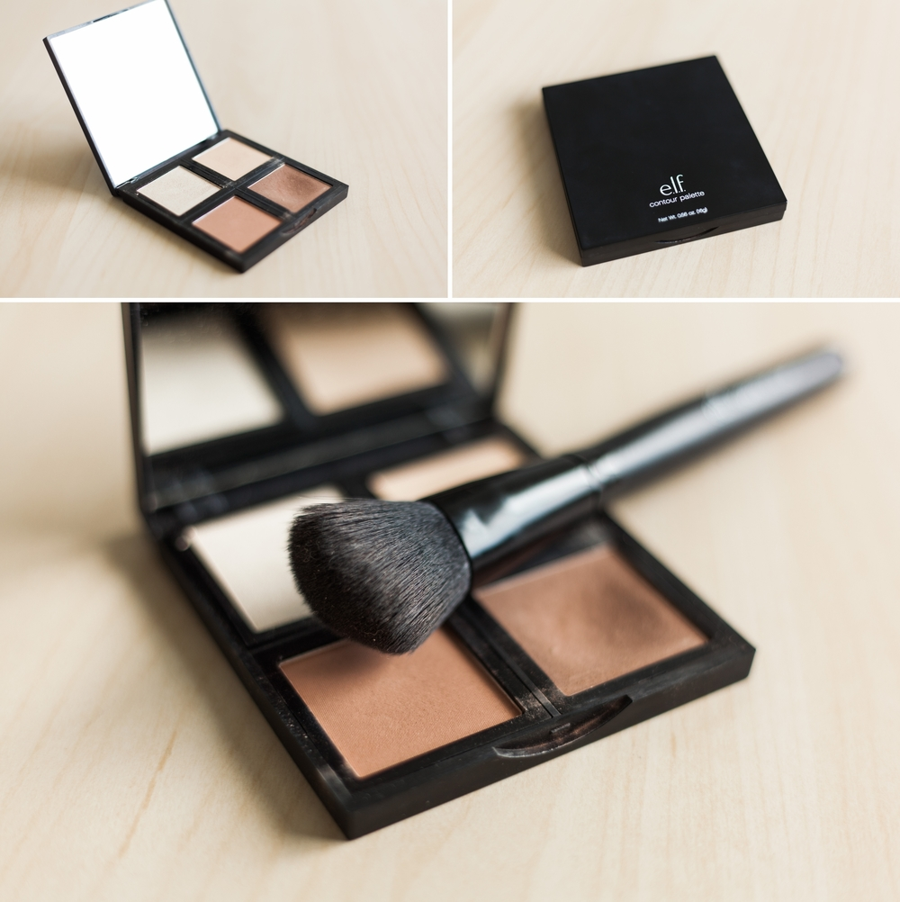 pictured here:  e.l.f. Contour Palette  and  e.l.f. Angled Blush Brush