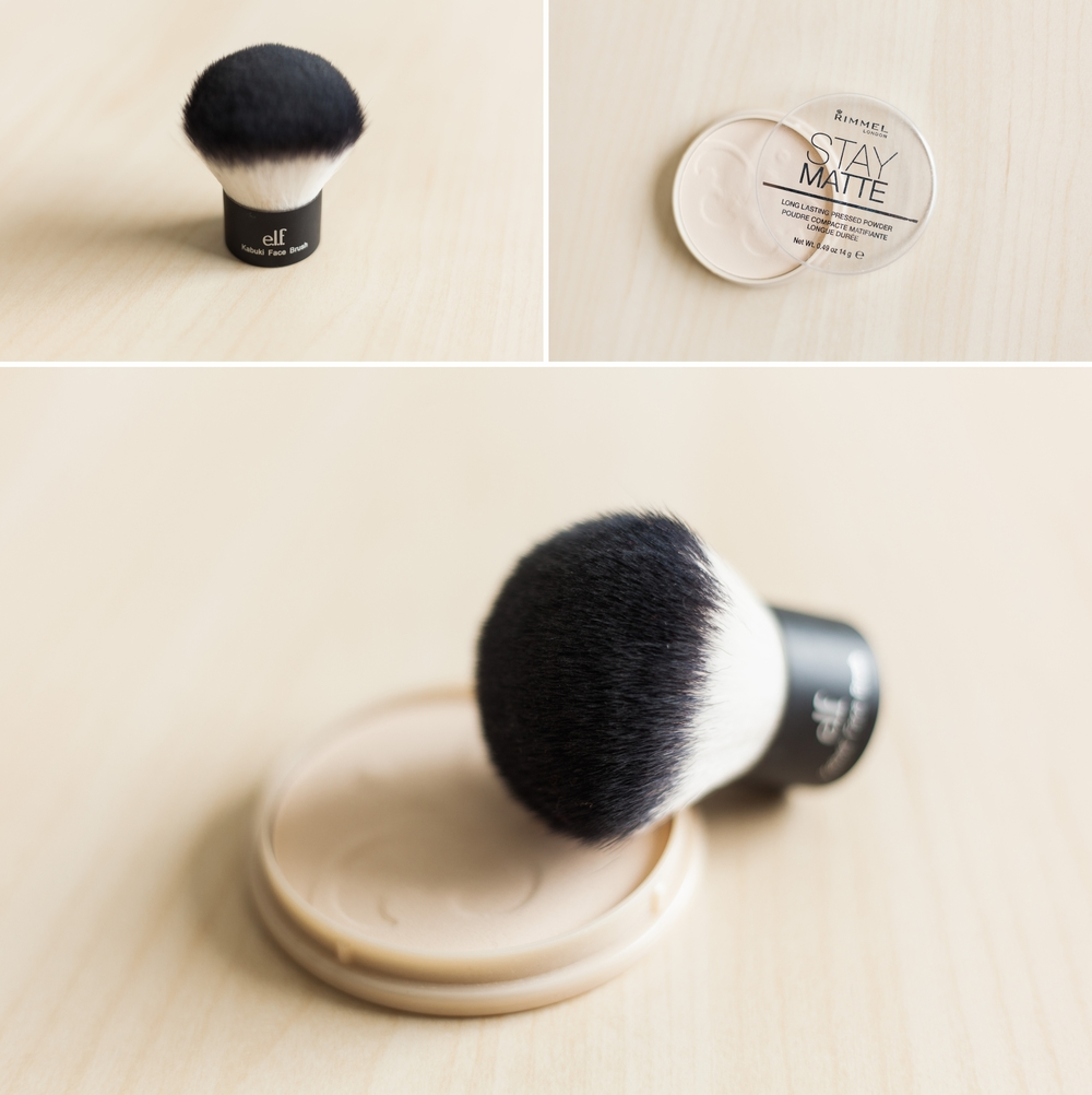 pictured here:  e.l.f. Kabuki Face Brush and  Rimmel Stay Matte Pressed Powder  in Transparent