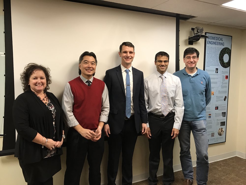 Thesis committee members included (left to right): Dr. Kacey Marra, Dr. Clark Hung (advisor), Dr. Roshan Shah, and Dr. Gerard Ateshian (chair).