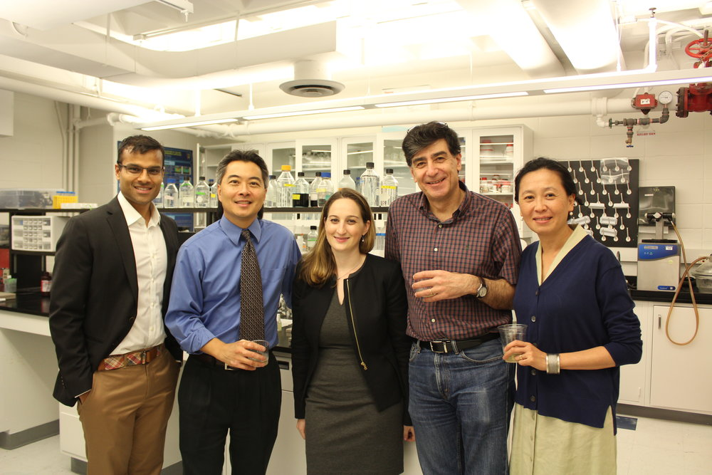 Thesis committee members included (left to right): Dr. Roshan Shah, Dr. Clark Hung, Dr. Gerard Ateshian, and Dr. Helen Lu. Dr. Bulinski not pictured.