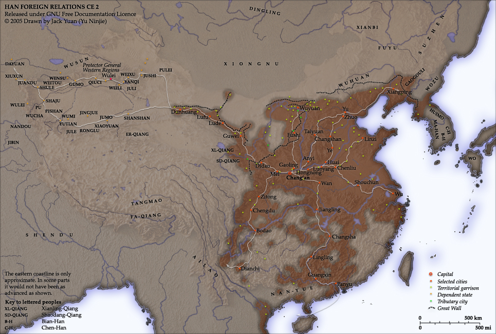 Han China Map with Cities