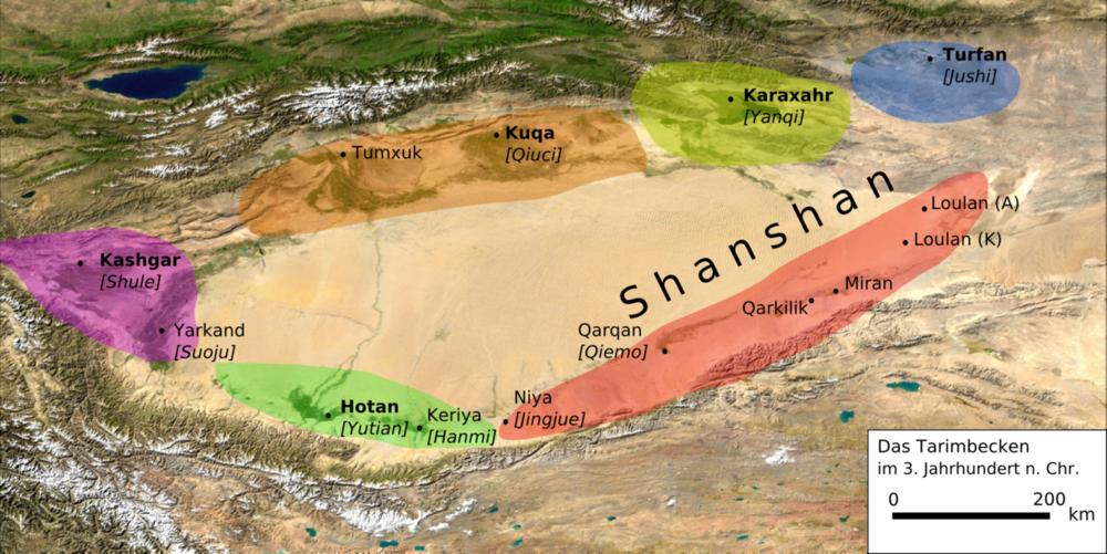 Settlements in Taklamakan Desert