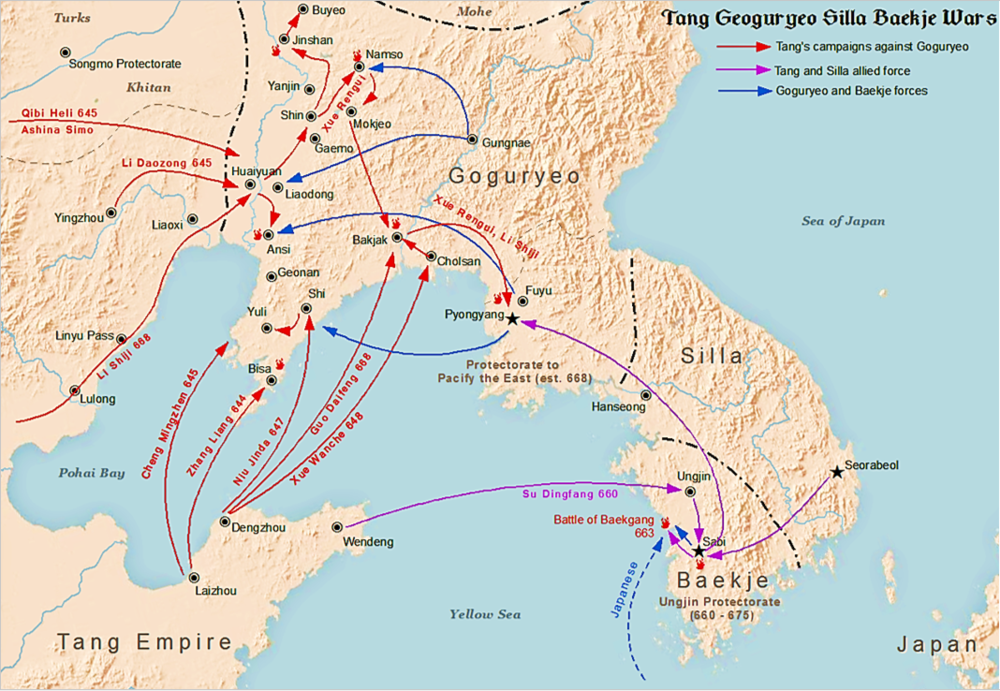Map of Tang-Korean Wars