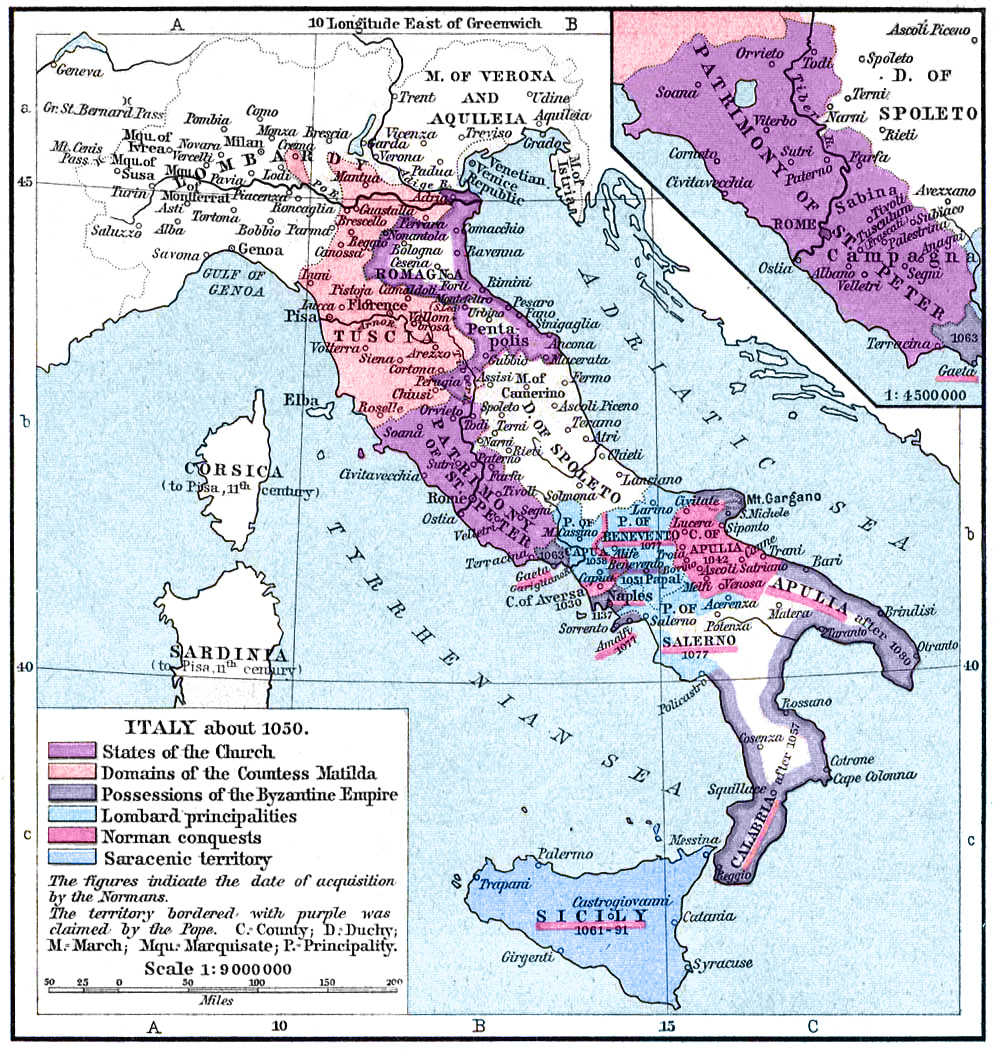 Map of Italy, 1050