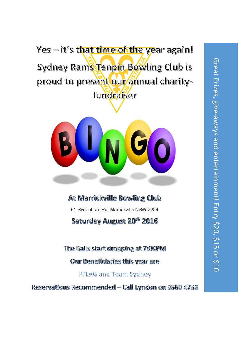 Please come along and support this great fundraiser! PFLAG NSW thanks Sydney RAMS for their ongoing support and including us as a beneficiary in this year's fundraiser.