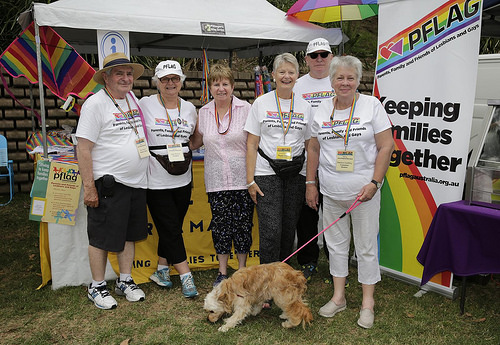 From L to R: Ray, Judy, Louise, Narelle, Ron & Marilyn at the PFLAG stall. Photo credit: Ann-Marie Calilhanna, Sydney Star Observer