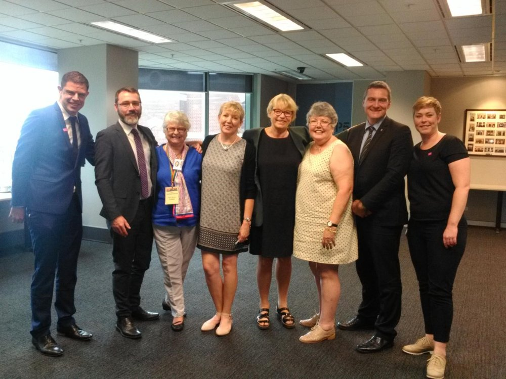At the Senate Committee hearing, Sydney 24th January. From left to right: Chris Pycroft (GLRL), Ivan Hinton-Teoh (just.equal), Judy Brown (PFLAG NSW), Michele Davis (PFLAG Perth), Senator Janet Rice (Greens), Shelley Argent (National Spokesperson, PFLAG), Rodney Croome (just.equal), Lauren Foy (GLRL)