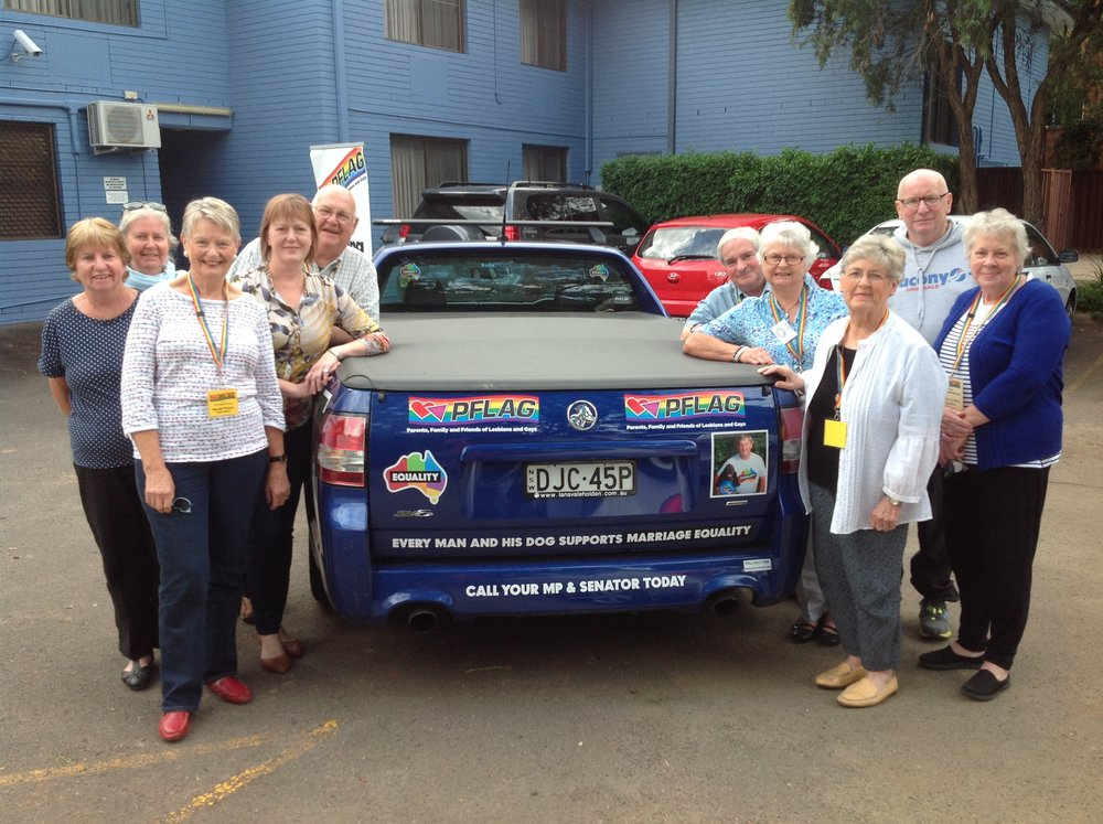 That blue ute, with a few well-wishers from PFLAG - before the trip!      Look out in the June newsletter for a full report and interview from Geoff's road trip!