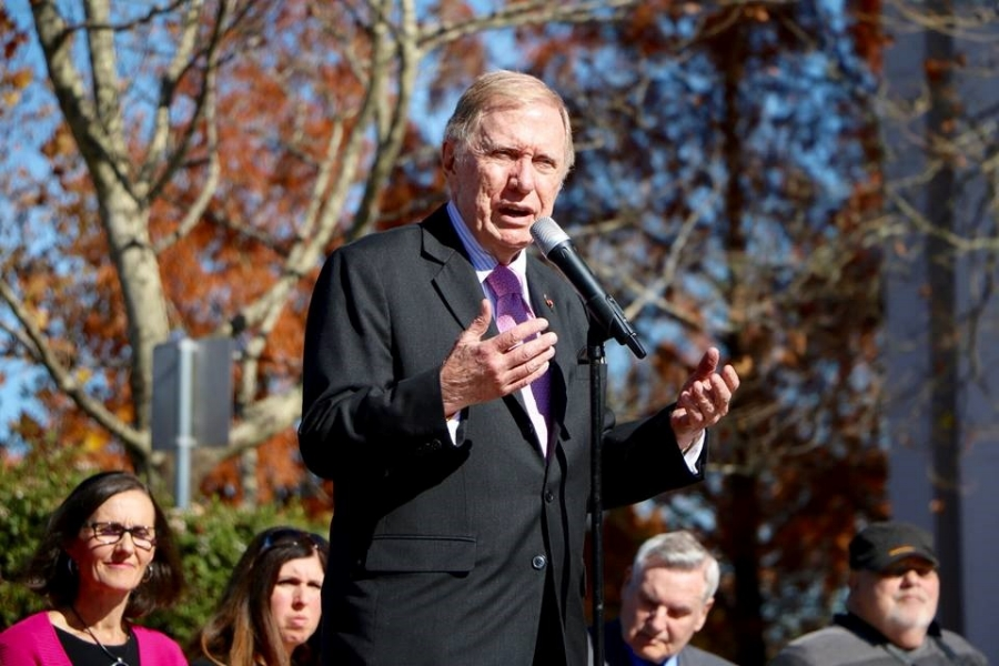 The Hon Michael Kirby addresses the crowd at Blue Mountains IDAHOT (partner Johan van Vloten in background).  Photo credit: Peter Hackney