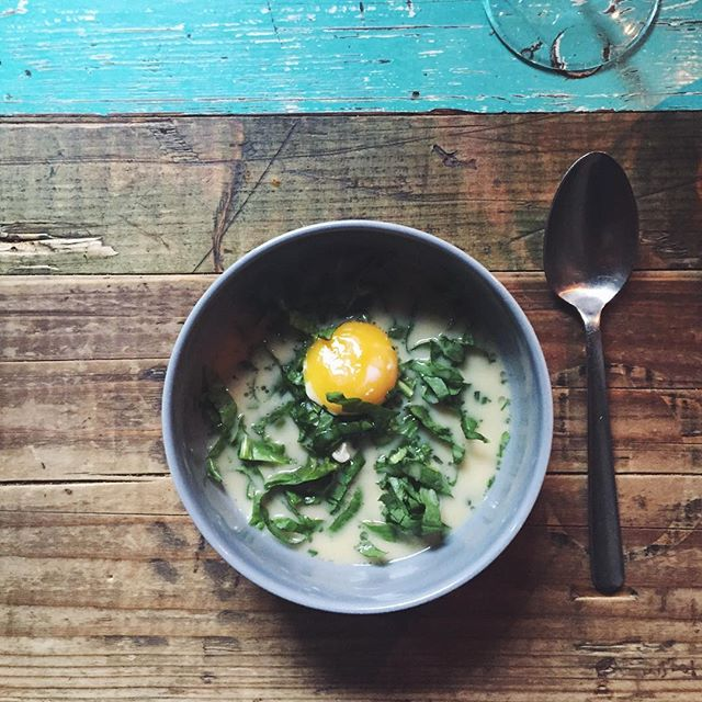Poached octopus, sorrel, egg yolk, with soup made from Danish cheese. Absolutely stunning.