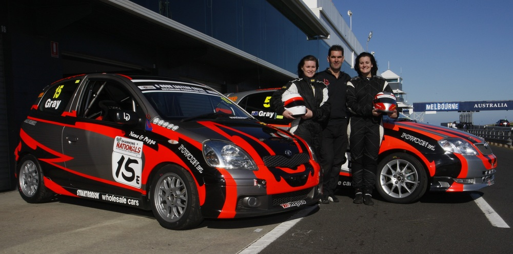 The APCS will host a two-car development team with the held of Lauren Gray Motorsport in 2016 (l-r, Maddison Gray, Michael Gray and Lauren Gray, with the Echo and Corolla to be fielded in the APCS this year) (Photo Credit-Robert Lang)